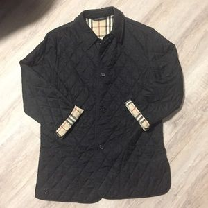 Black quilted Burberry coat